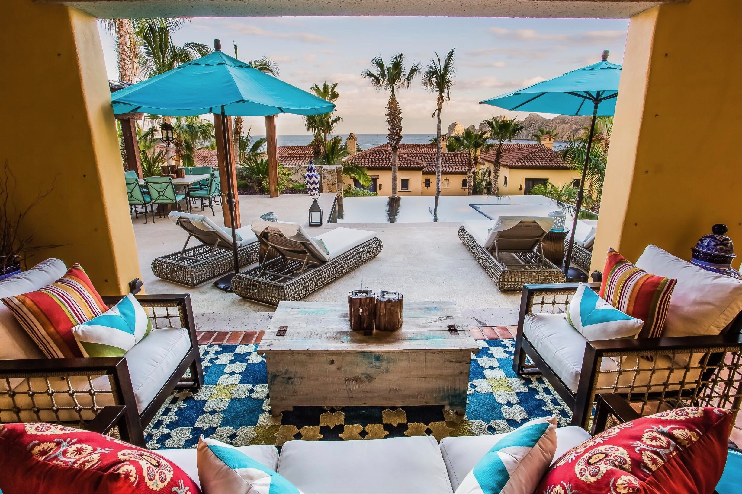 A view of the pool in a veranda unit at Hacienda